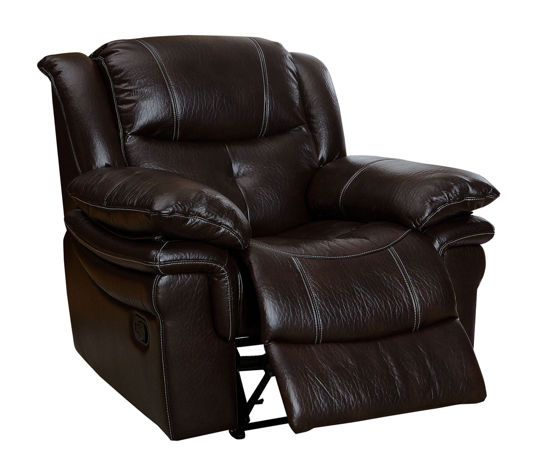 Amylla Transitional Plush Leatherette Dark Brown Recliner Chair