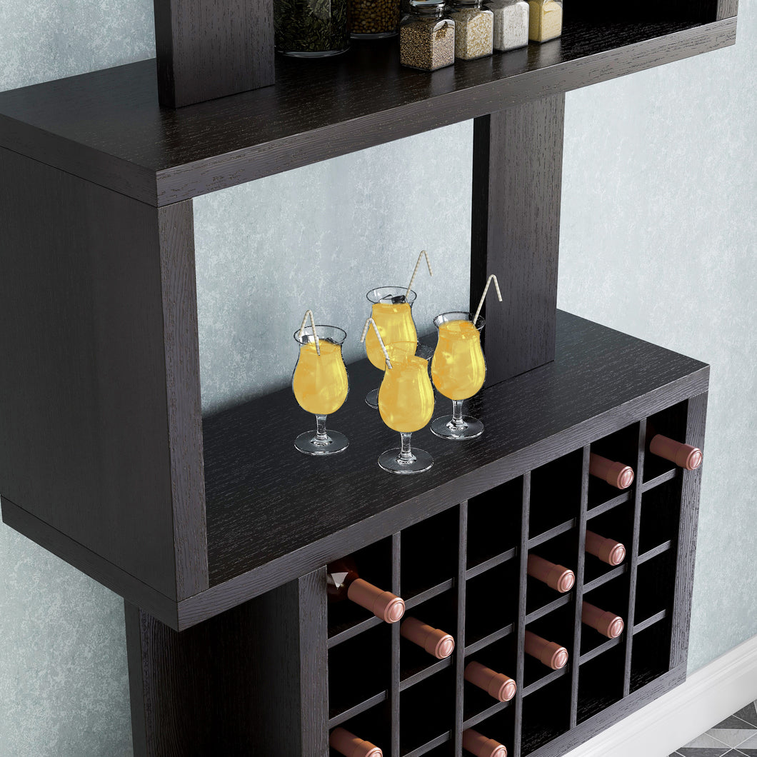 Stella Contemporary Style 4-Tier Cappuccino Wine Rack
