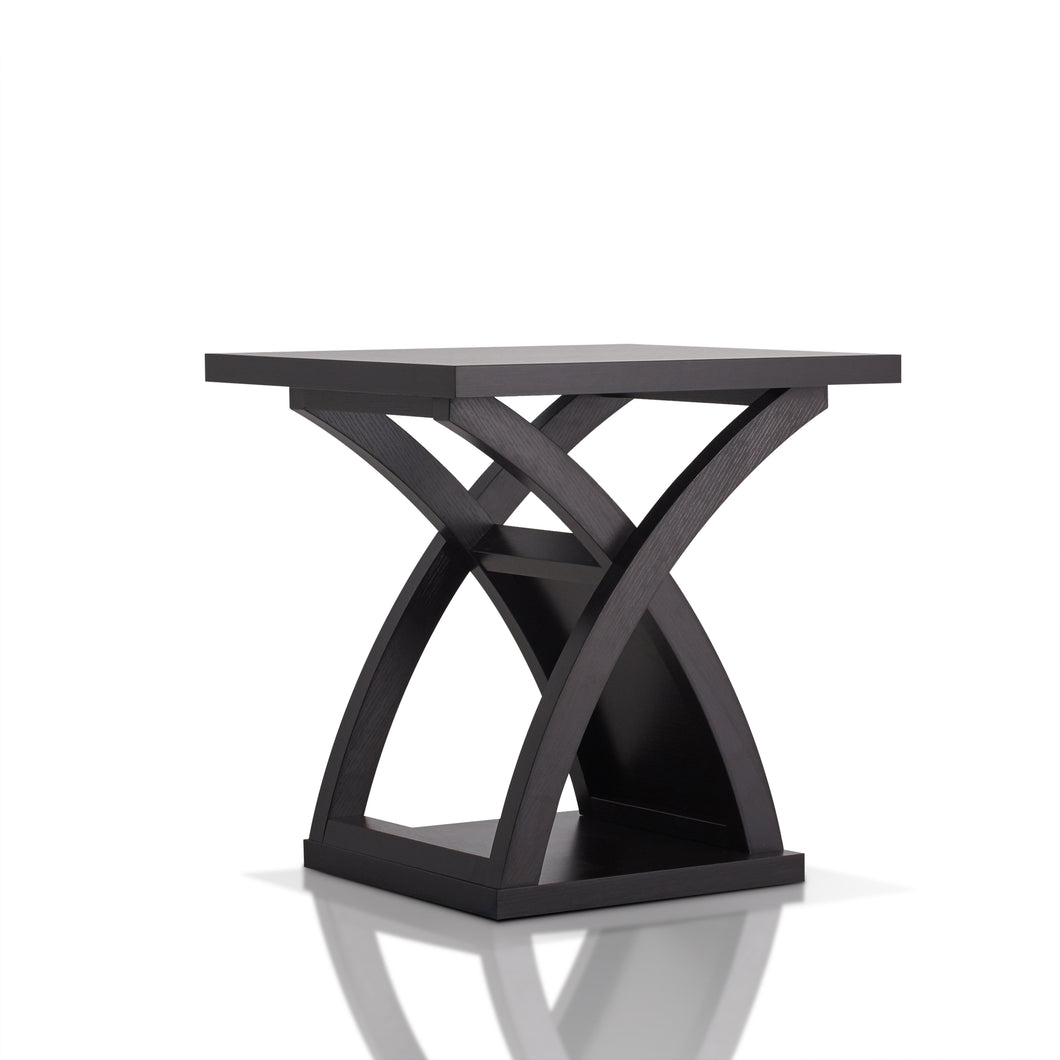 Arkely Contemporary Espresso Hourglass Pedestal Table
