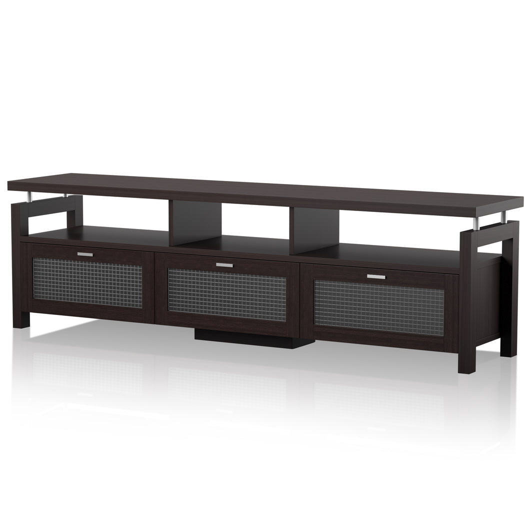 Russo 70-inch Frosted Glass Cabinet Espresso TV Stand