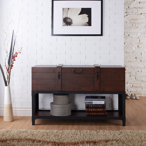 Tidal Trunk Style Vintage Walnut Entryway Table