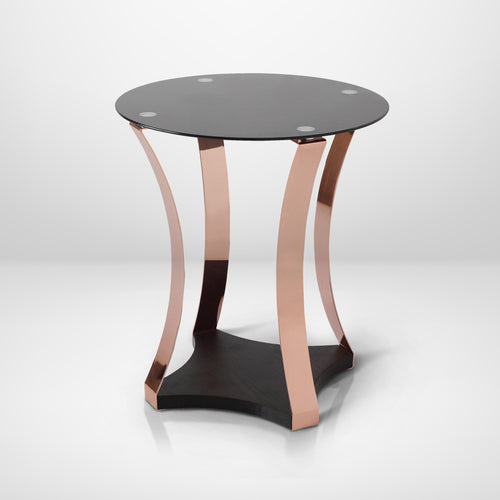 Placido Rose Gold Finish Round End Table