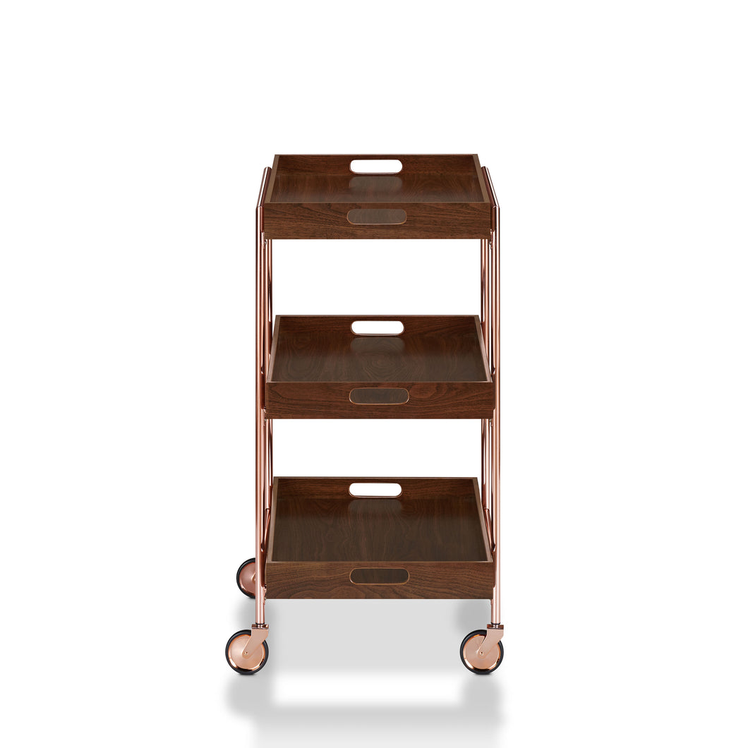 Kliman Industrial Walnut Serving Cart