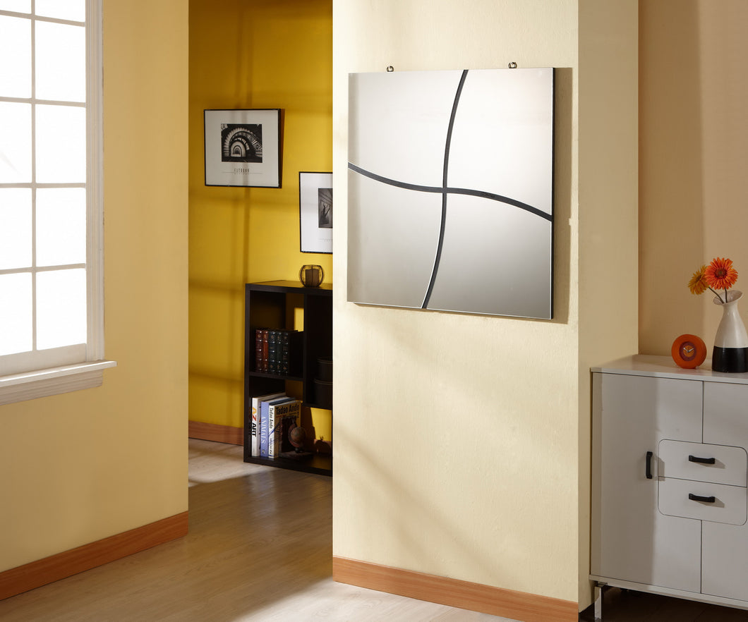 Shandy Contemporary Clean Break Square Mirror in Black
