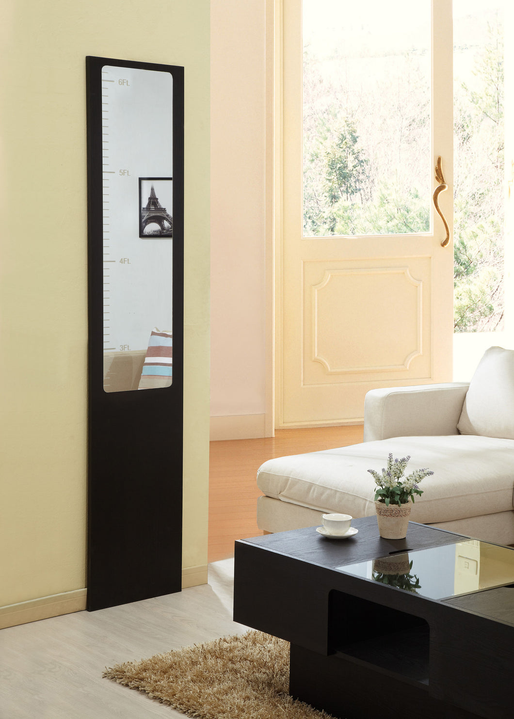 Eziel Contemporary Walnut Height Measurement Mirror