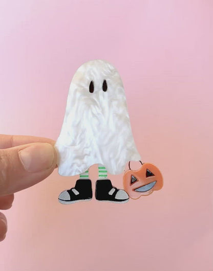 acrylic halloween ghost brooch