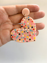 Load image into Gallery viewer, Pink Heart Polka Dot Earrings