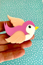 Load image into Gallery viewer, Classic Pink Bluebird Brooch