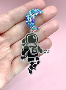 acrylic astronaut earrings