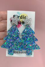 Load image into Gallery viewer, Festive Glittery Christmas Tree Earrings in Blue