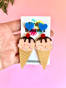 Ice Cream Earrings with Hearts