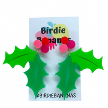 Load image into Gallery viewer, christmas holly earrings