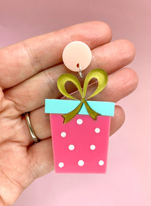 pink mint and gold christmas earrings