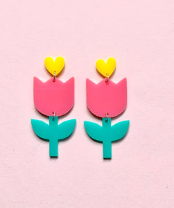 Pink Dutch Tulip Earrings