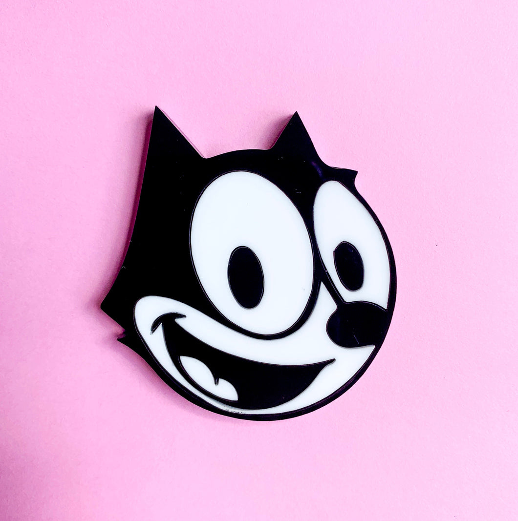 collectable acrylic felix the cat brooch