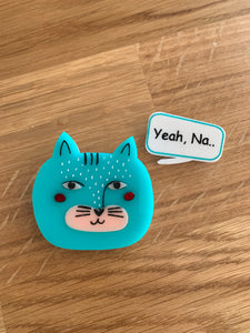 Blue Cat Brooch With Custom Speech Bubble