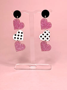 pink heart valentines earrings