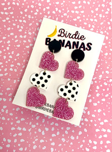 pink glitter acrylic heart dangle earrings
