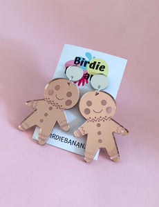 Pink Mirror Gingerbread Man Earrings