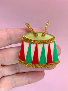 festive christmas drum brooch made feom multi coloured acrylic handmade in Melbourne