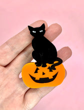 Load image into Gallery viewer, cat sitting on pumpkin brooch