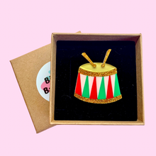 Load image into Gallery viewer, Colourful Festive Christmas Drum Brooch