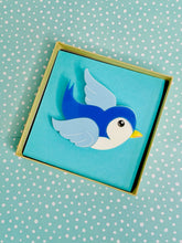 Load image into Gallery viewer, classic blue blubird acrylic brooch