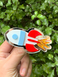 Rocket Ship acrylic brooch