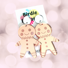 Load image into Gallery viewer, Pink Mirror Gingerbread Man Earrings