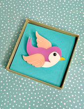 Load image into Gallery viewer, classic Pink bluebird acrylic brooch
