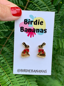 Golden Chocolate Easter Bunny Stud Earrings