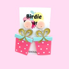 Load image into Gallery viewer, pink polka dot christmas present earrings
