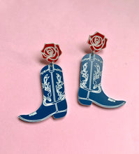 Load image into Gallery viewer, Western Blue Cowgirl Boot Earrings