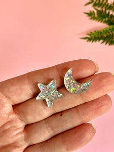 Mismatched Silver Moon and Star Studs
