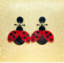 Load image into Gallery viewer, Red Ladybug Earrings