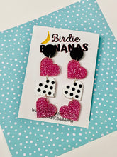 Load image into Gallery viewer, funky fun acrylic heart earrings