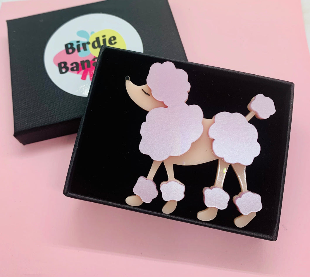 pink french poodle acrylic brooch