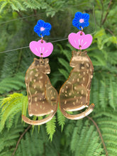 Load image into Gallery viewer, Gold  Mirror Leopard Earrings