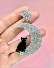 Load image into Gallery viewer, Silver Moon and Cat Celestial Earrings