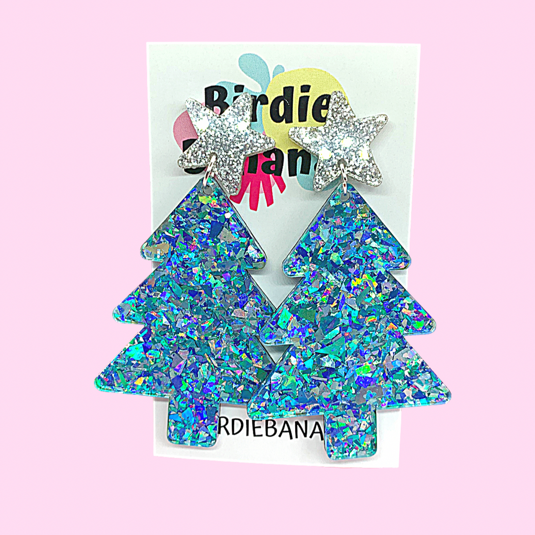 Festive Glittery Christmas Tree Earrings in Blue