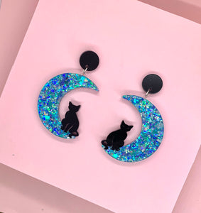 gothic celestial cat and moon earrings
