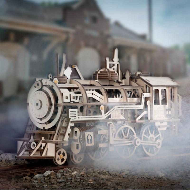 3D Wooden Moveable Train Building Kit