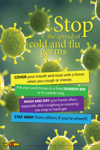 STOP THE SPREAD OF COLD AND FLU GERMS, Workplace safety poster