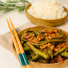 Load image into Gallery viewer, Pan Fried Green Beans with Minced Pork on Rice
