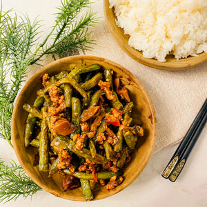 Pan Fried Green Beans with Minced Pork on Rice