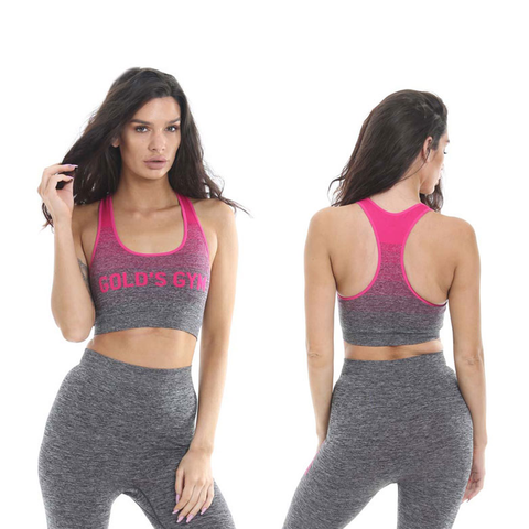 Golds Gym Ladies Seamless Vest Top - Grey/Pink