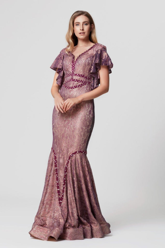 Royal Look V-Neckline Cap Sleeves Long Prom Dress TKLB1186