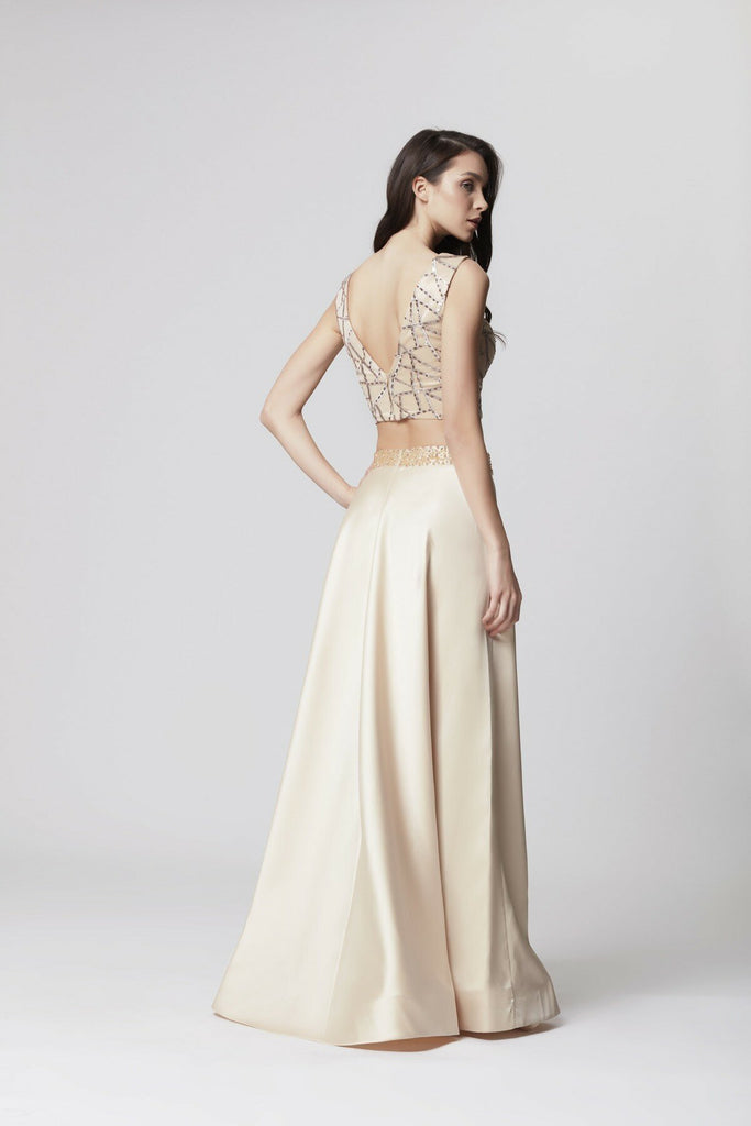 CHAMPAGNE Two Piece V-Neckline Beaded Long Prom Dress TKLB1193