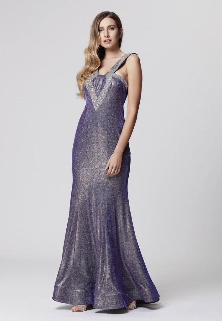 Glitter Crepe Jeweled Scoop Neckline Long Prom Dress TKLB1242