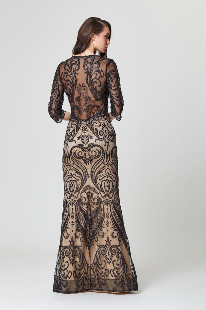 Elegant Patterned Long Sleeves Long Evening Dress TKLB1227